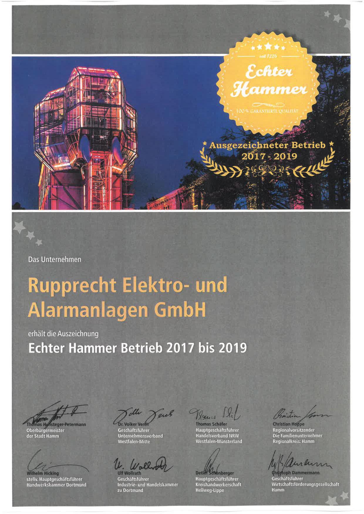Urkunde - Echter Hammer Betrieb 2017-2019 - Rupprecht Alarmanlagen aus Hamm - Seit mehr als 35 Jahren auf elektronische Sicherheitssysteme spezialisiert.