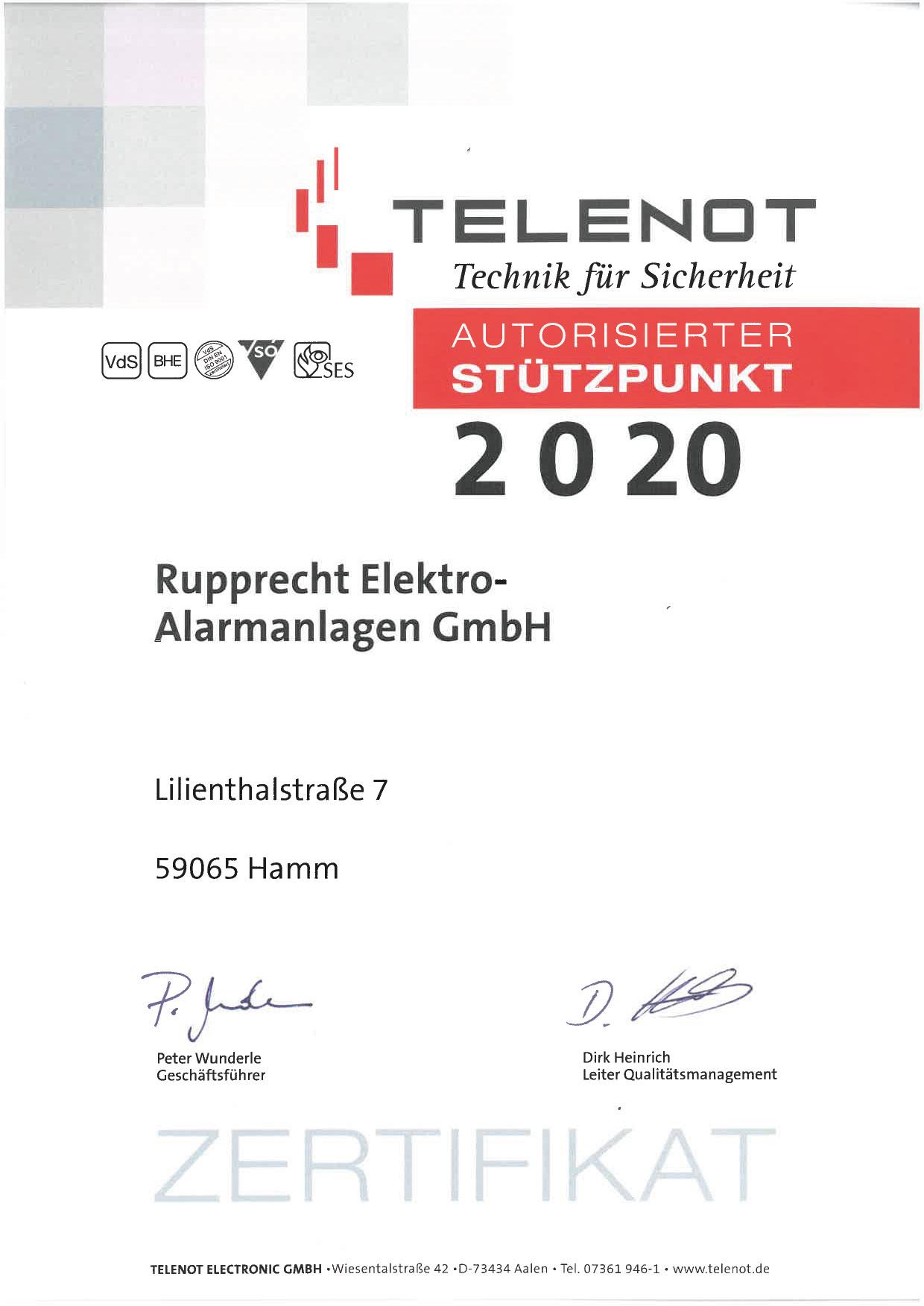 Telenot - Autorisierter Stützpunkt - Rupprecht Alarmanlagen aus Hamm - Seit mehr als 35 Jahren auf elektronische Sicherheitssysteme spezialisiert.