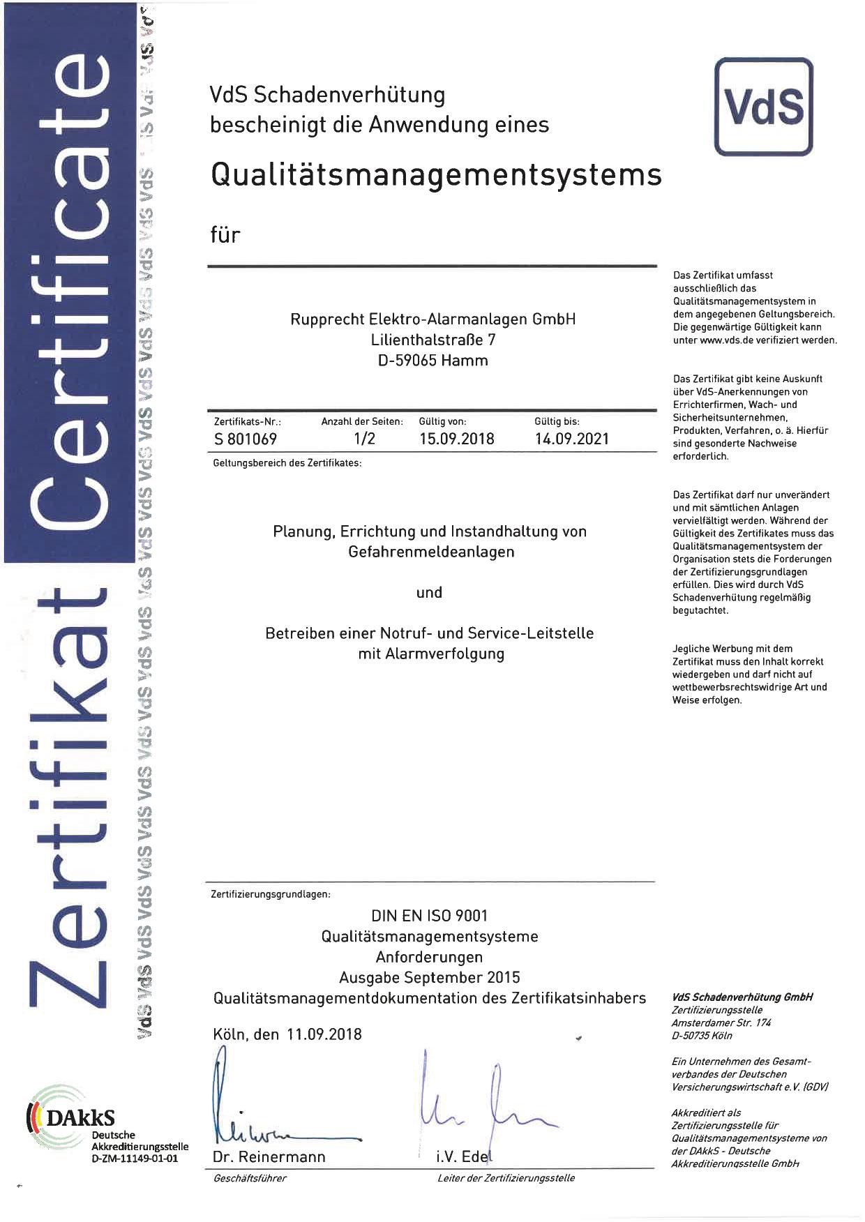 VdS - Zertifizierung - Rupprecht Alarmanlagen aus Hamm - Seit mehr als 35 Jahren auf elektronische Sicherheitssysteme spezialisiert.